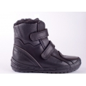 Boy's black leather winter shoes with velcro