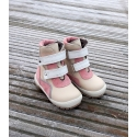 Pink winter leather shoes for girls 21-26 size