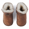 Toddlers leather slippers sheep skin brown