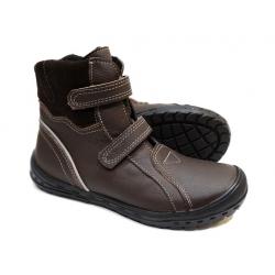 Rudi odiniai zieminiai batai su lipukais ir vilna