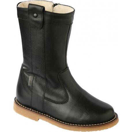 Melton juodi odiniai žieminiai  batai mergaitėms su vilna
