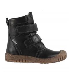 Juodi odiniai žieminiai batai su naturalia vilna MELTON