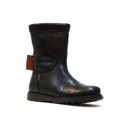 Melton black leather waterproof winter boots