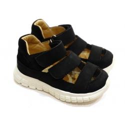 Juodi odiniai sandaliukai vasariniai vaikams MELTON