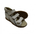 Orthopedic leather sandals with three velcro
