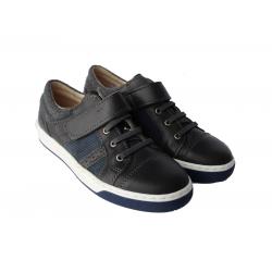 Black leather school shoes for boy's 27-40 EU size